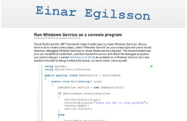 http://einaregilsson.com/run-windows-service-as-a-console-program/