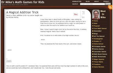http://www.dr-mikes-math-games-for-kids.com/addition-trick.html