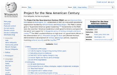 http://en.wikipedia.org/wiki/Project_for_the_New_American_Century