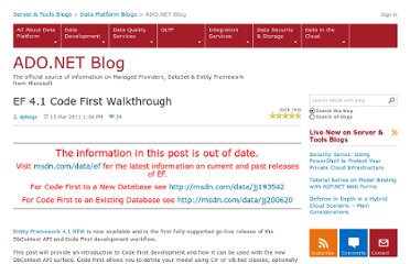 http://blogs.msdn.com/b/adonet/archive/2011/03/15/ef-4-1-code-first-walkthrough.aspx
