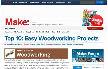 http://blog.makezine.com/2011/02/16/top-10-easy-woodworking-projects/