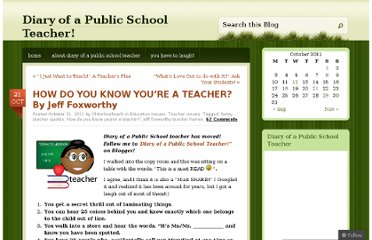 http://oldschoolteach.wordpress.com/2011/10/21/how-do-you-know-youre-a-teacher-by-jeff-foxworth/