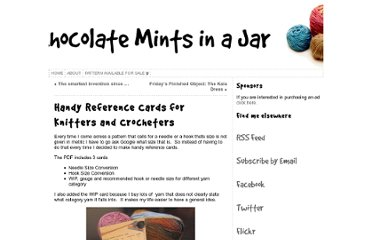 http://www.chocolatemintsinajar.com/craft/2010/10/handy-reference-cards-knitters-crocheters/