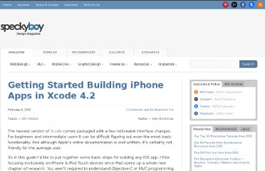 http://speckyboy.com/2012/02/06/getting-started-building-iphone-apps-in-xcode-4-2/