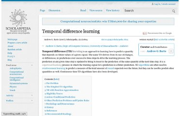 http://www.scholarpedia.org/article/Temporal_difference_learning