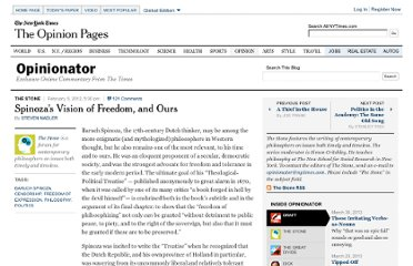 http://opinionator.blogs.nytimes.com/2012/02/05/spinozas-vision-of-freedom-and-ours/
