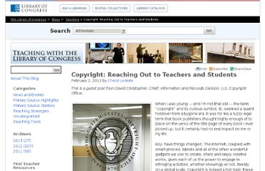 http://blogs.loc.gov/teachers/2012/02/copyright-reaching-out-to-teachers-and-students/