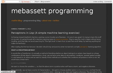 http://mebdev.blogspot.com/2012/02/perceptrons-in-lisp-simple-machine.html