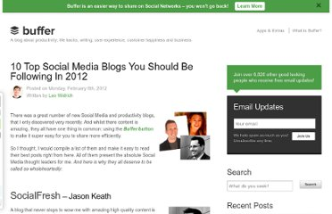 http://blog.bufferapp.com/10-top-social-media-blogs-you-should-be-following-and-why