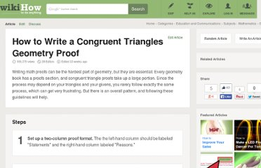 http://www.wikihow.com/Write-a-Congruent-Triangles-Geometry-Proof