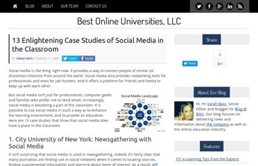 http://bestonlineuniversities.com/2009/13-enlightening-case-studies-of-social-media-in-the-classroom/