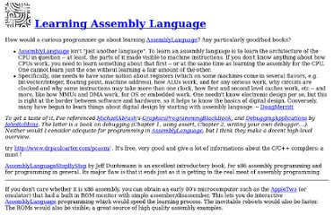 http://c2.com/cgi/wiki?LearningAssemblyLanguage