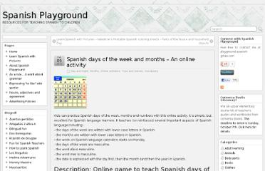 http://www.spanishplayground.net/spanish-days-week-months-online-activity/