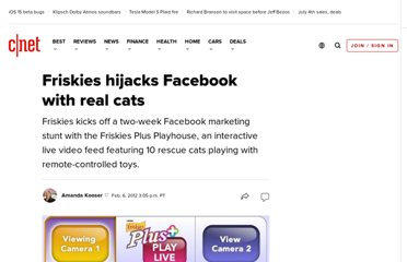 http://news.cnet.com/8301-17938_105-57372119-1/friskies-hijacks-facebook-with-real-cats/