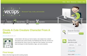 http://vectips.com/tutorials/create-a-cute-creature-character-from-a-sketch/
