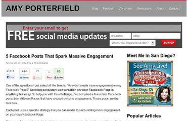http://www.amyporterfield.com/2012/02/5-facebook-posts-that-spark-massive-engagement/