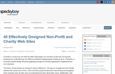 http://speckyboy.com/2012/01/05/40-effectively-designed-non-profit-and-charity-web-sites/