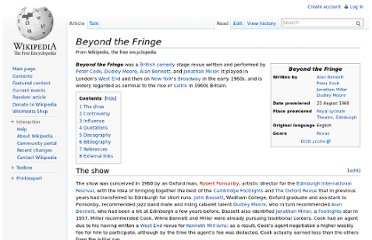 http://en.wikipedia.org/wiki/Beyond_the_Fringe