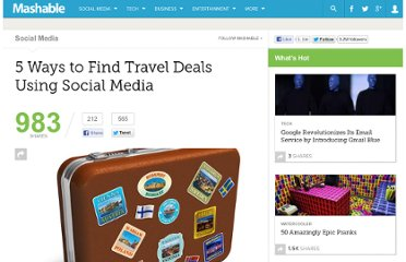 http://mashable.com/2012/02/07/social-media-travel-deals/