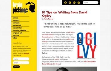 http://www.brainpickings.org/index.php/2012/02/07/david-ogilvy-on-writing/