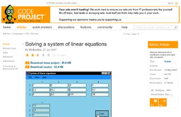 http://www.codeproject.com/Articles/18804/Solving-a-system-of-linear-equations