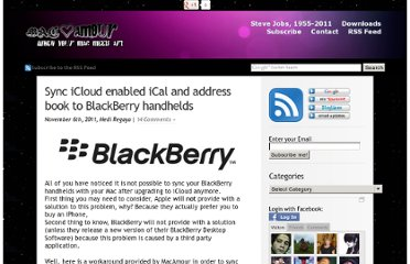 http://macamour.com/blog/2011/11/06/sync-icloud-enabled-ical-and-address-book-to-blackberry-handhelds/