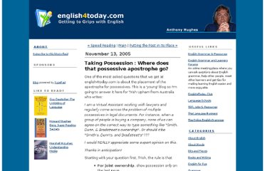 http://english4today.blogs.com/english/2005/11/taking_possessi.html