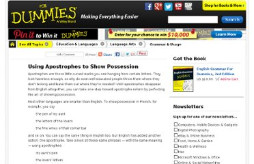 http://www.dummies.com/how-to/content/using-apostrophes-to-show-possession.html