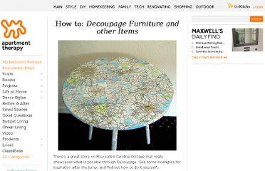 http://www.apartmenttherapy.com/how-to-decoupage-furniture-83918