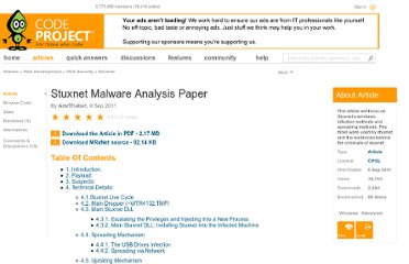 http://www.codeproject.com/Articles/246545/Stuxnet-Malware-Analysis-Paper