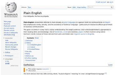 http://en.wikipedia.org/wiki/Plain_English