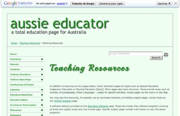 http://www.aussieeducator.org.au/resources/teaching/resources.html