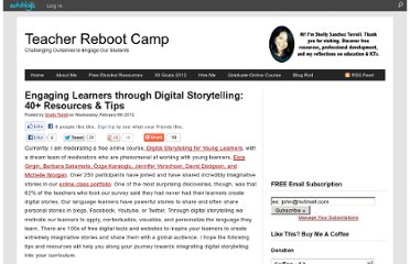 http://teacherbootcamp.edublogs.org/2012/02/08/engaging-learners-through-digital-storytelling-40-resources-tips/