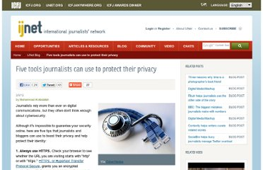 http://ijnet.org/blog/five-ways-journalists-can-boost-their-online-privacy