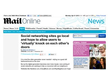 http://www.dailymail.co.uk/news/article-2075613/Social-networking-sites-local-hope-allow-users-virtually-knock-doors.html