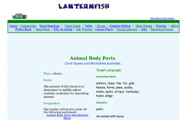 http://bogglesworldesl.com/lessons/animal_parts.htm