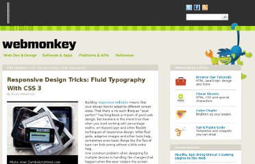 http://www.webmonkey.com/2012/02/responsive-design-tricks-fluid-typography-with-css-3/