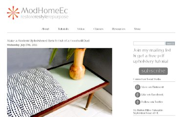 http://www.modhomeec.com/2011/07/27/make-a-modern-upholstered-bench-out-of-a-goodwill-dud/