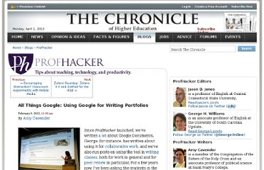 http://chronicle.com/blogs/profhacker/all-things-google-using-google-for-writing-portfolios/38324