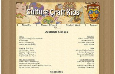 http://www.culturecraftkids.com/classes.html