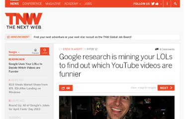 http://thenextweb.com/google/2012/02/09/google-research-is-mining-your-lols-to-find-out-which-youtube-videos-are-funnier/