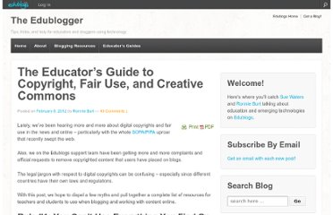 http://theedublogger.com/2012/02/09/the-educators-guide-to-copyright-fair-use-and-creative-commons/