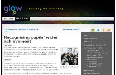 http://cookbooks.glowscotland.org.uk/blog/2010/04/23/recognising-pupils-wider-achievement/