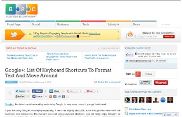http://www.business2community.com/google-plus/google-list-of-keyboard-shortcuts-to-format-text-and-move-around-0131496