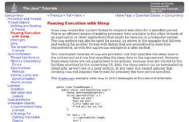 http://docs.oracle.com/javase/tutorial/essential/concurrency/sleep.html