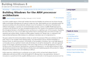 http://blogs.msdn.com/b/b8/archive/2012/02/09/building-windows-for-the-arm-processor-architecture.aspx