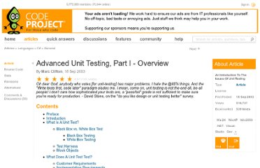 http://www.codeproject.com/Articles/5019/Advanced-Unit-Testing-Part-I-Overview