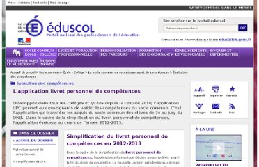 http://eduscol.education.fr/cid57937/l-application-livret-personnel-competences.html