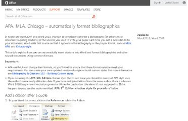 http://office.microsoft.com/en-us/word-help/apa-mla-chicago-automatically-format-bibliographies-HA102435469.aspx