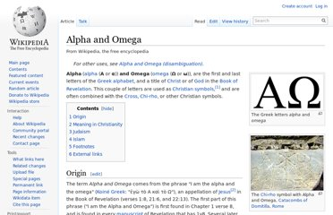 http://en.wikipedia.org/wiki/Alpha_and_Omega